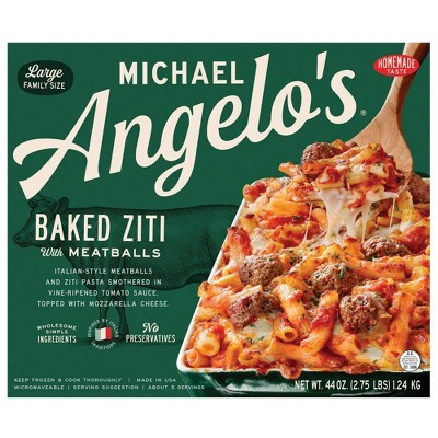 Michael Angelo's Large Family Size Frozen Baked Ziti with Meatballs