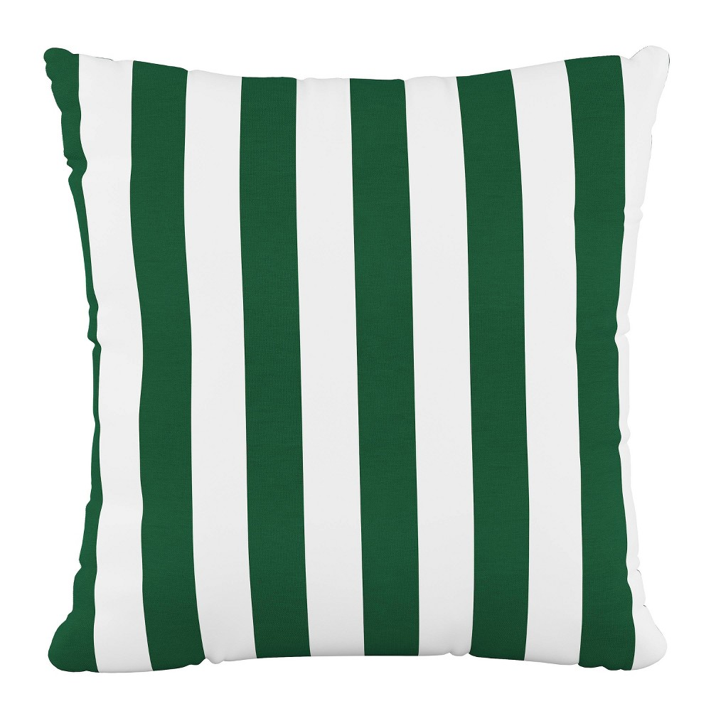 "Image of ""18""""X18""""Polyester Square Pillow in Canopy Stripe Emerald - Skyline Furniture"""