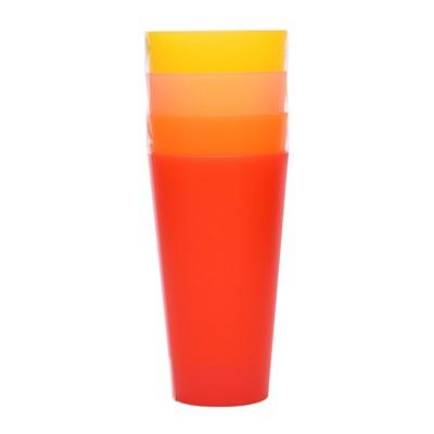 Plastic Tumblers 21oz Red/Orange - Set of 4