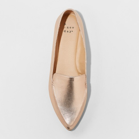f6a43fefb34 Women s Micah Wide Width Pointy Toe Loafers - A New Day™ Rose Gold 12W    Target