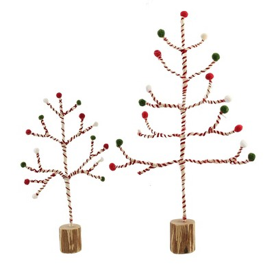 """Christmas 19.5"""" Yarn Table On Wire Top Trees Red Green White  -  Decorative Figurines"""