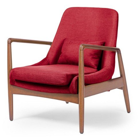 Carter Mid - Century Modern Retro Fabric Upholstered Leisure Accent Chair In Pine Brown Wood Frame - Red - Baxton Studio - image 1 of 3