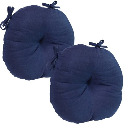 2pk Blue Olefin Round Patio Bistro Seat Cushions - Sunnydaze Decor