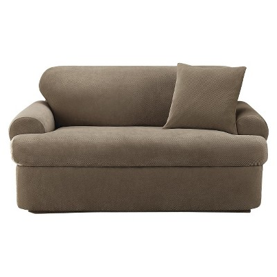 Taupe Stretch Pique Loveseat Slipcover - Sure Fit