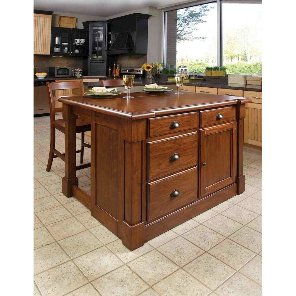 Aspen Rustic Cherry Kitchen Island with 2 Stools Wood/Bro...