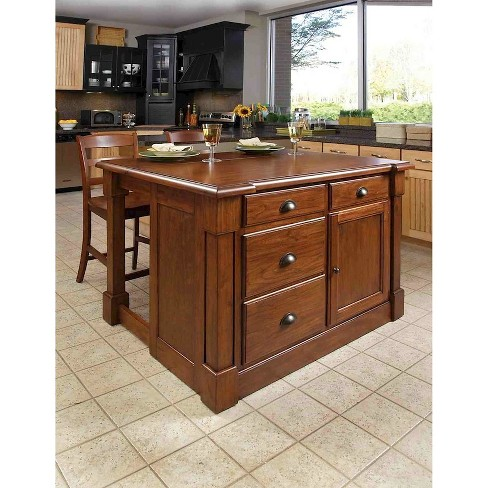 Aspen Rustic Cherry Kitchen Island with 2 Stools Wood/Brown - Home Styles - image 1 of 2