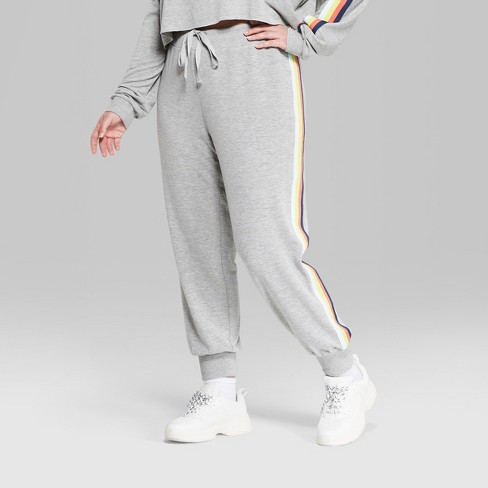 39ea6f3883dc1 Women s Striped Plus Size Rainbow Placed Stripe Jogger - Wild Fable™ Gray    Target