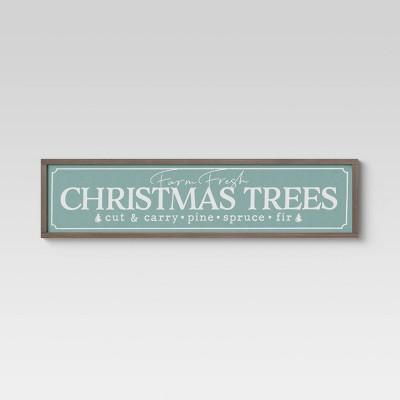 "40"" x 10"" Christmas Trees Framed Wall Canvas Alpine Green - Threshold™"