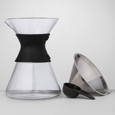 6 Cup Silver Pour Over Glass Coffee Maker - Made By Design™