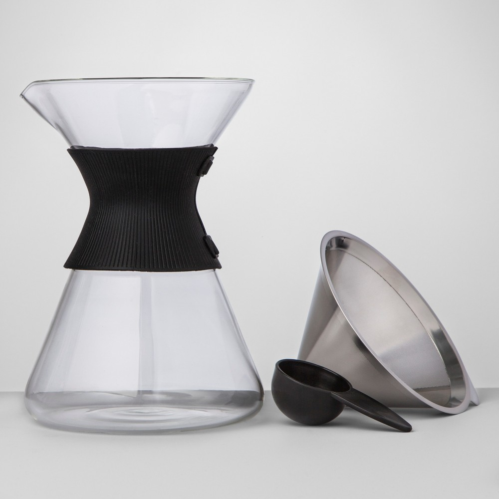 6 Cup Silver Pour Over Glass Coffee Maker – Made By Design 53170775