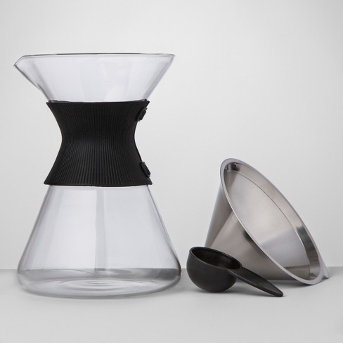6 Cup Silver Pour Over Glass Coffee Maker - Made By Design™ - image 1 of 4