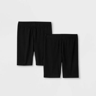 Girls' 2pk Mid-Length Bike Shorts - Cat & Jack™ Black