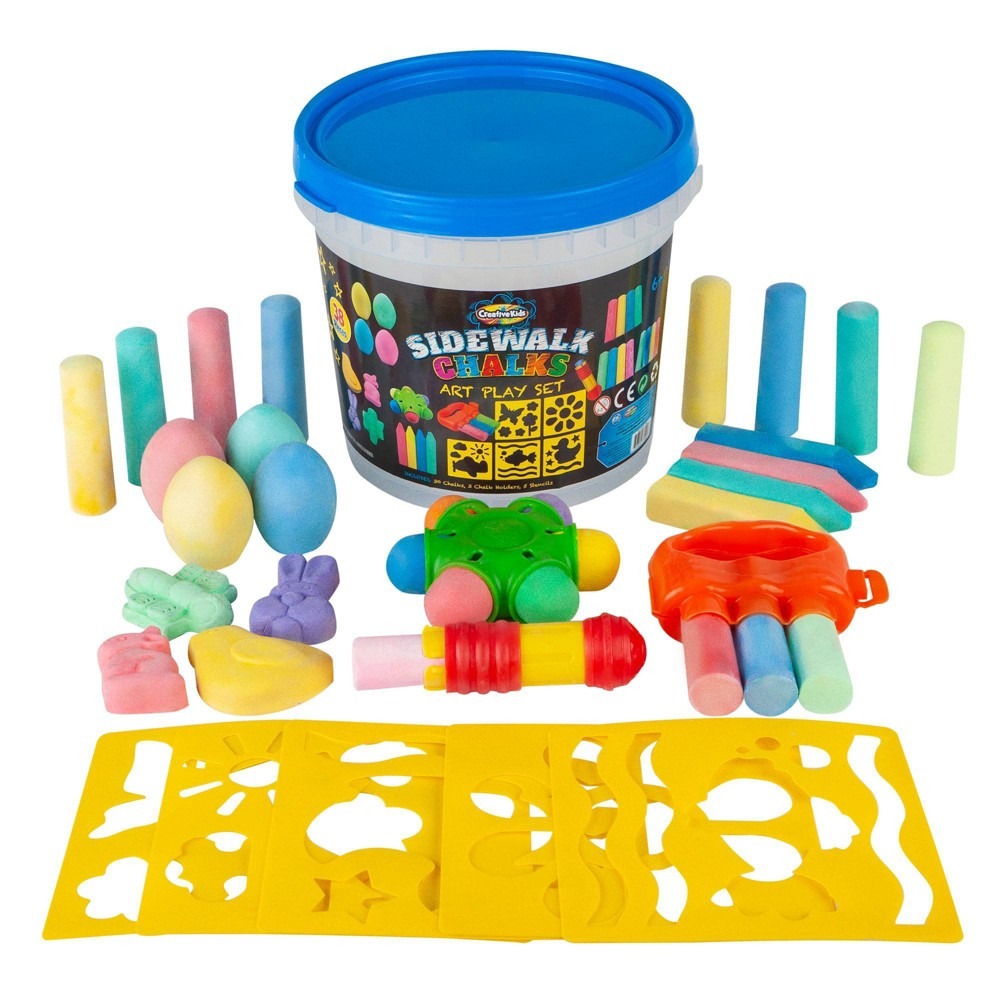 Image of Creative Kids Sidewalk Chalk Art Play Set Bucket