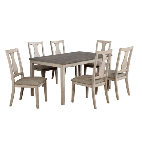 7pc EmmettDining Table Set Casual Antique White/Gray - ioHOMES