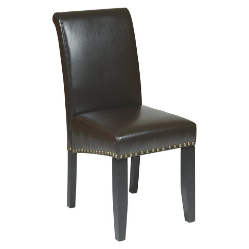Parsons Nailhead Trim Dining Chair Wood/Espresso - Office Star - image 1 of 1
