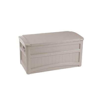 Suncast 73 Gallon Outdoor Patio Deck Storage Organization Box, Taupe (2 Pack)