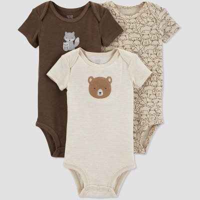 Baby Boys' 3pk Fox Bodysuit - Just One You® made by carter's Brown Newborn