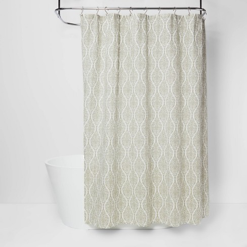 Wave Lines Shower Curtain Green, Green And White Shower Curtain