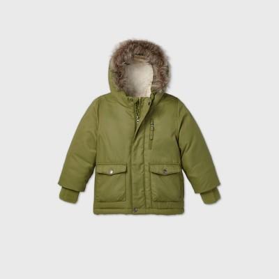 Toddler Boys' Parka Jacket - Cat & Jack™ Olive Green 4T