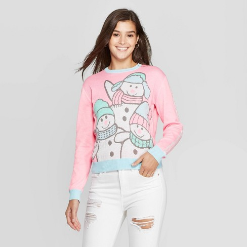 Women's Chillin With My Snowmies Graphic Sweatshirt (Juniors') - Pink - image 1 of 2