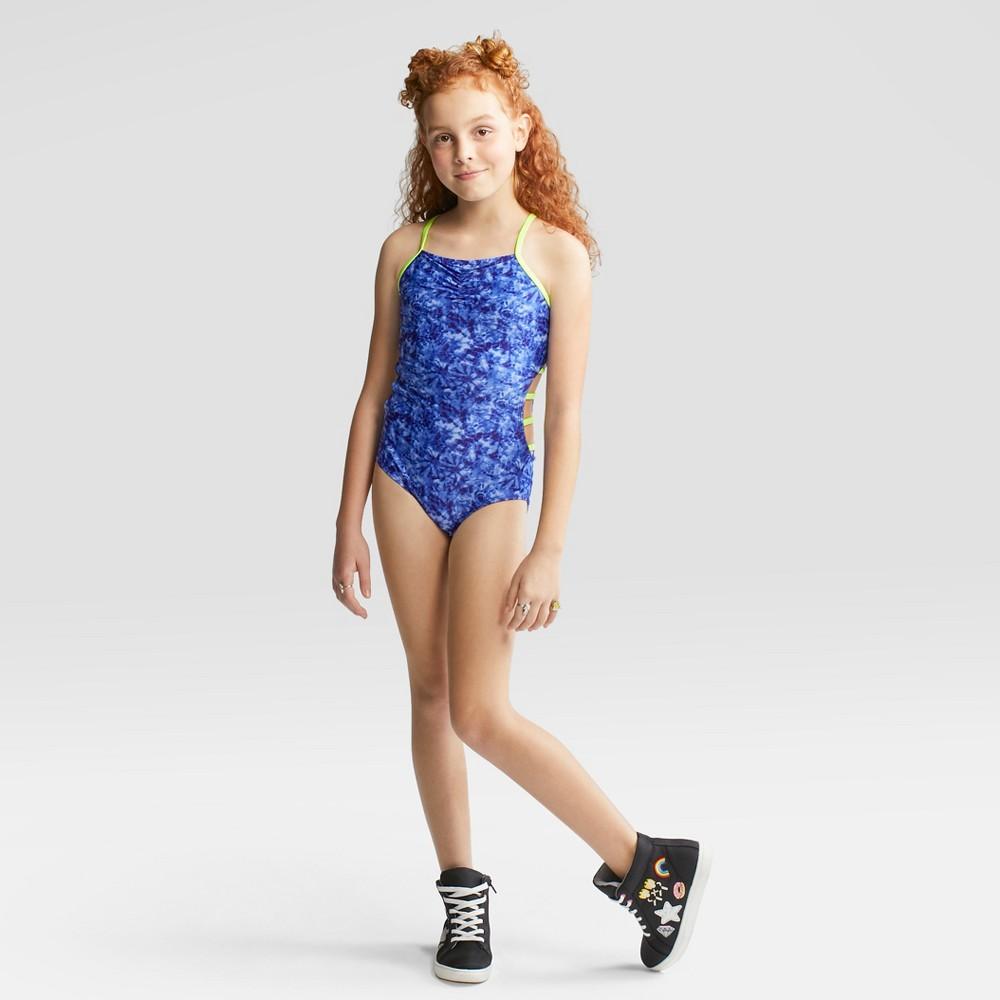 Girls' Reflected Sun One Piece Swimsuit - art class Blue M