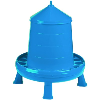 Double-Tuf DT9875 High Capacity 17.5 Pound Durable Poultry Feeder Container with Legs and Convenient Carry Handle, Blue