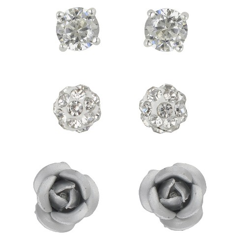 Women's Sterling Silver Cubic Zirconia Crystal Fireball Aluminium Rose Button Earrings - image 1 of 1