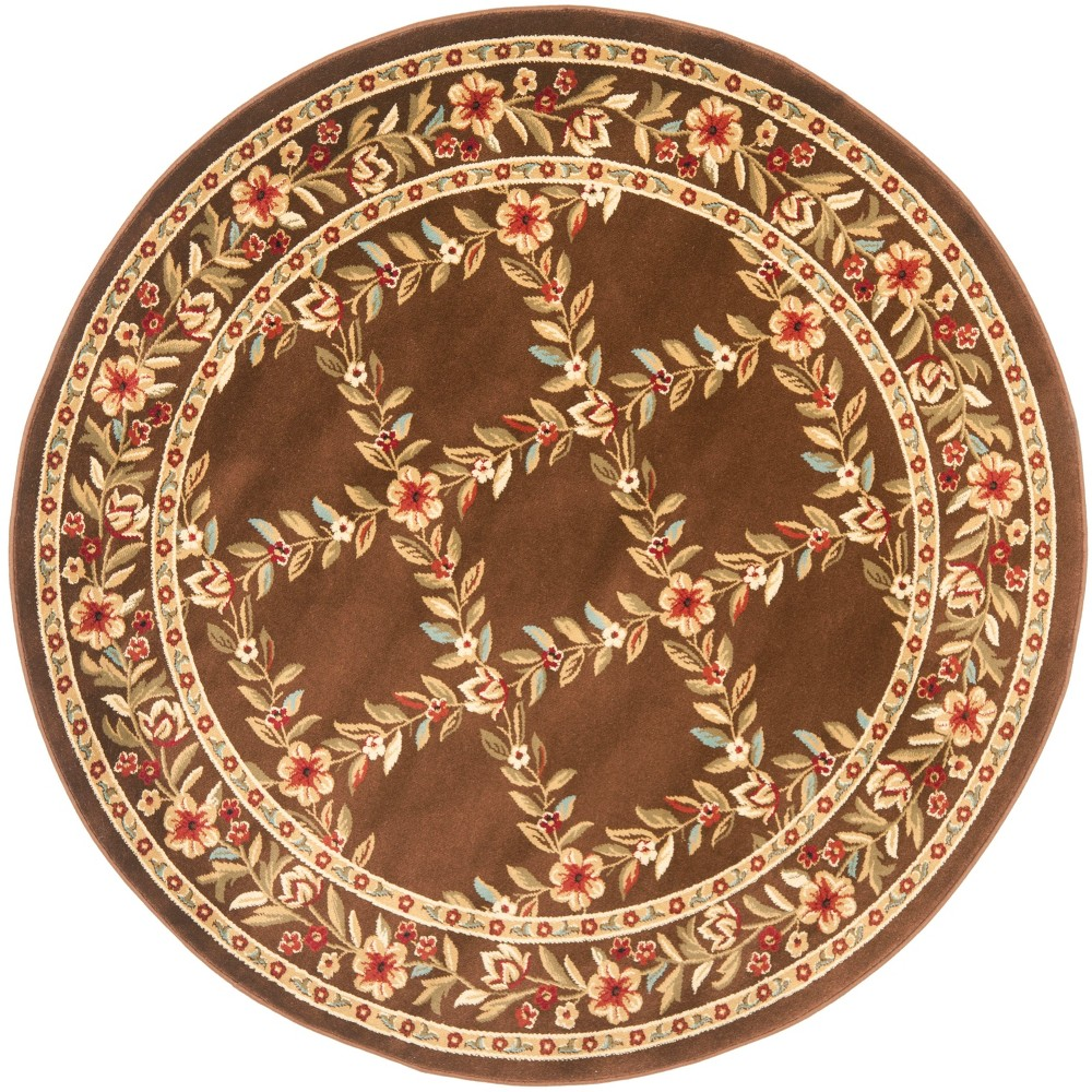 5'3 Floral Loomed Round Area Rug Brown - Safavieh