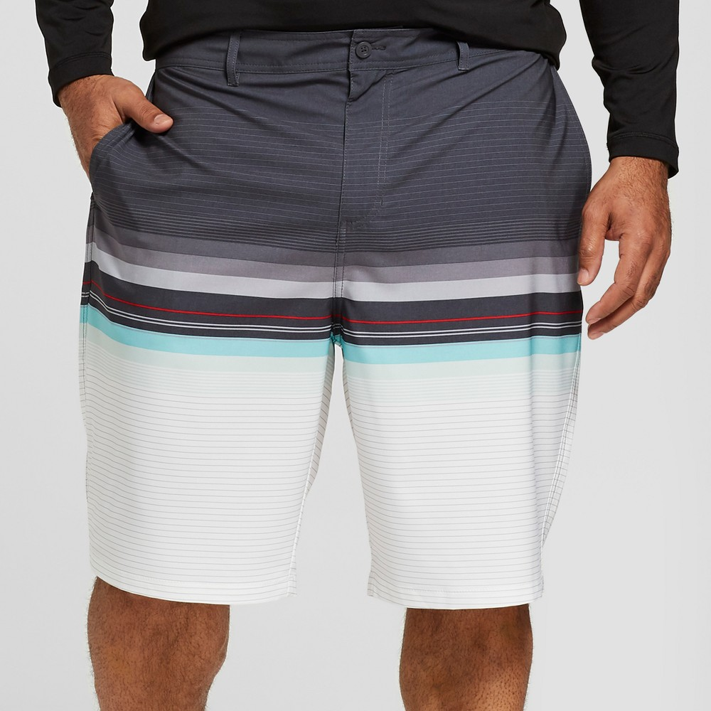 "Image of ""Men's Big & Tall Striped 10.5"""" Contract Hybrid Swim Shorts - Goodfellow & Co Dark Gray 60"""