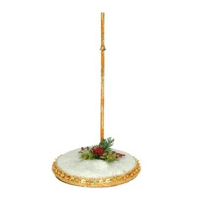 """Mark Roberts Products 7.5"""" White and Gold Glittered Snow Base Small Stand"""