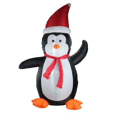 Northlight 4' Black and White Inflatable Festive Penguin Christmas Yard Decor