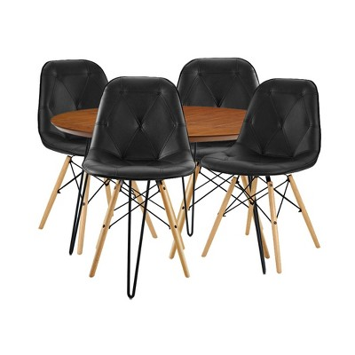 5pc Round Hairpin Dining Group With 4 Eames Chair Black/Walnut   Saracina  Home