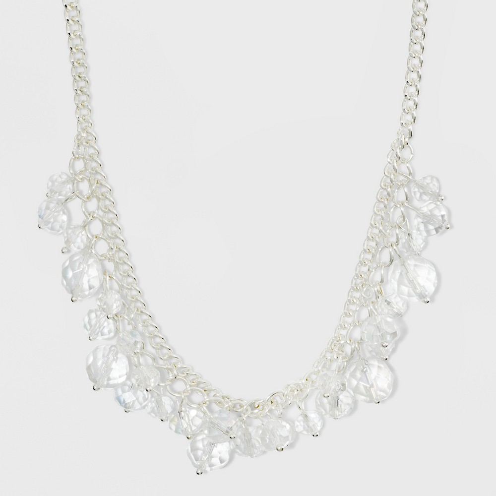 Linked Chain and Glitzy Short Necklace - A New Day Silver/Clear