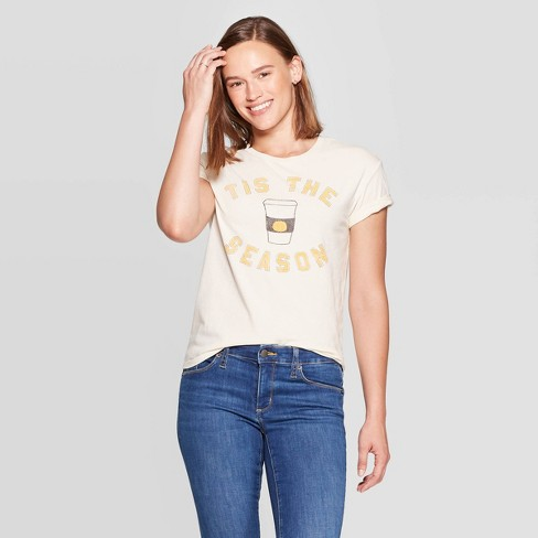 Women's Tis the Season Pumpkin Spice Short Sleeve T-Shirt - Fifth Sun (Juniors') - Off White XS - image 1 of 2