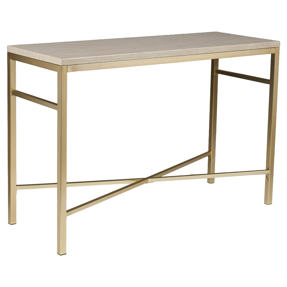 Console Faux Stone Table - Matte Brass - Aiden Lane, Beige Nude
