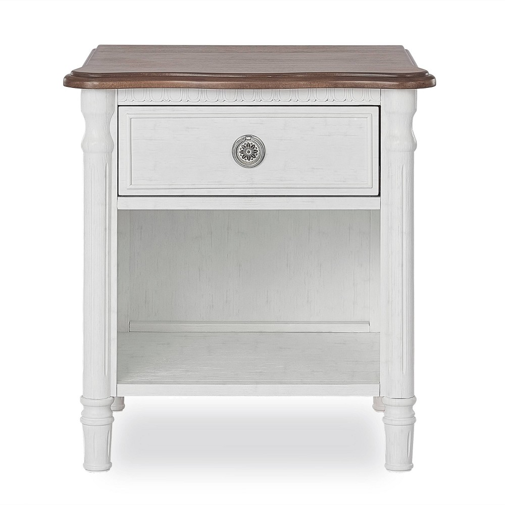 Image of Evolur Julienne Nightstand - Brush White, Brown