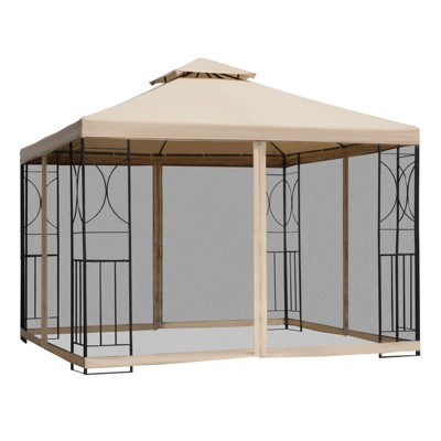Outsunny 10' x 10' Steel Outdoor Patio Gazebo Canopy with Privacy Mesh Curtains, Weather-Resistant Roof, & Storage Trays