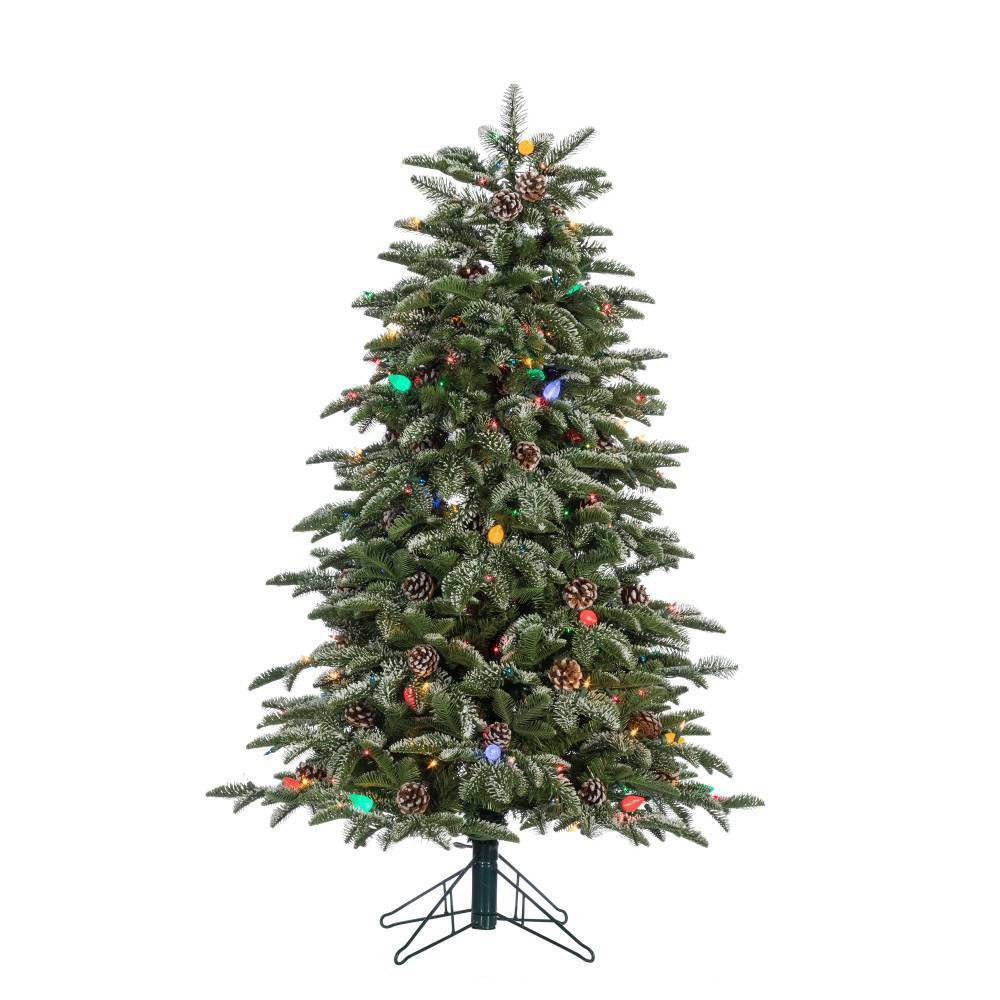 Image of 4ft Sterling Tree Company Natural Cut Pre-Lit LED Flocked Smoky Mountain Pine Tree with Pine Cone Accents Artificial Christmas Tree, Green