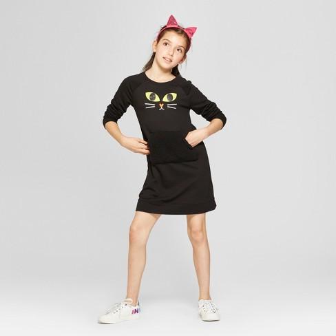 girls long sleeve halloween cat dress cat jack black
