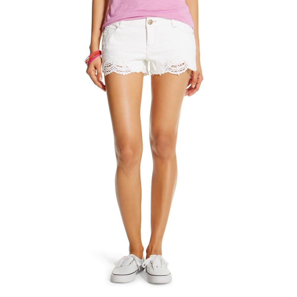 Vanilla Star Women's Low-Rise Crochet Jean Shorts - White 3, White Lion
