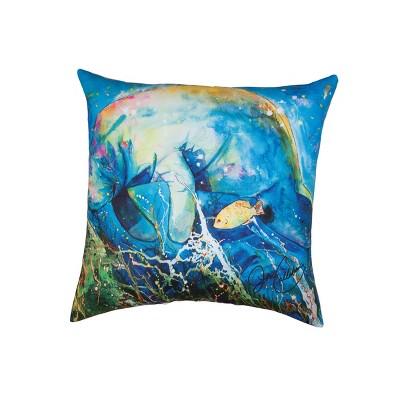 "C&F Home 18"" X 18"" Manatee Barrier Reef Coastal Indoor/Outdoor Decorative Throw Pillow : Target"