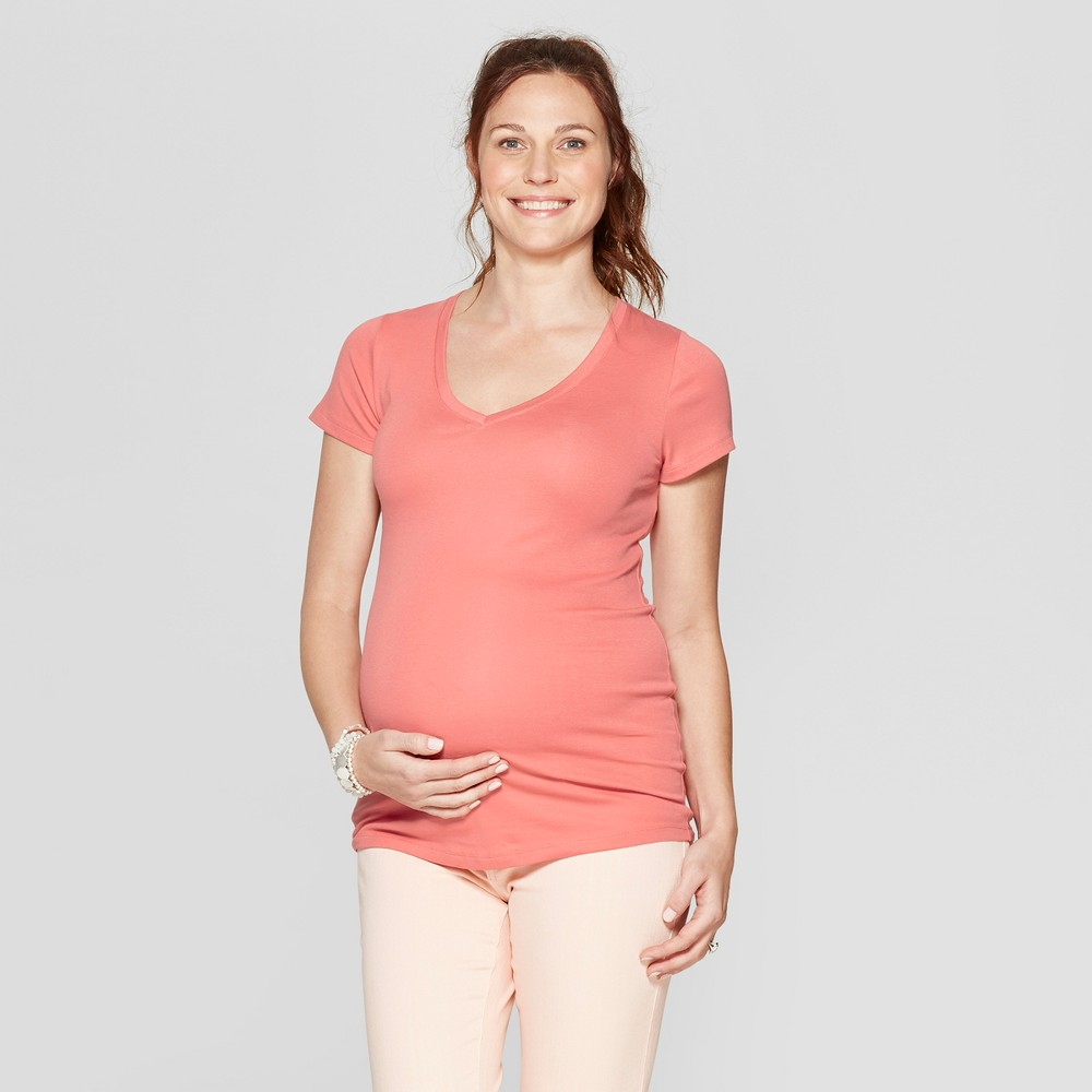 Maternity Short Sleeve V-Neck T-Shirt - Isabel Maternity by Ingrid & Isabel Pink XL, Women's