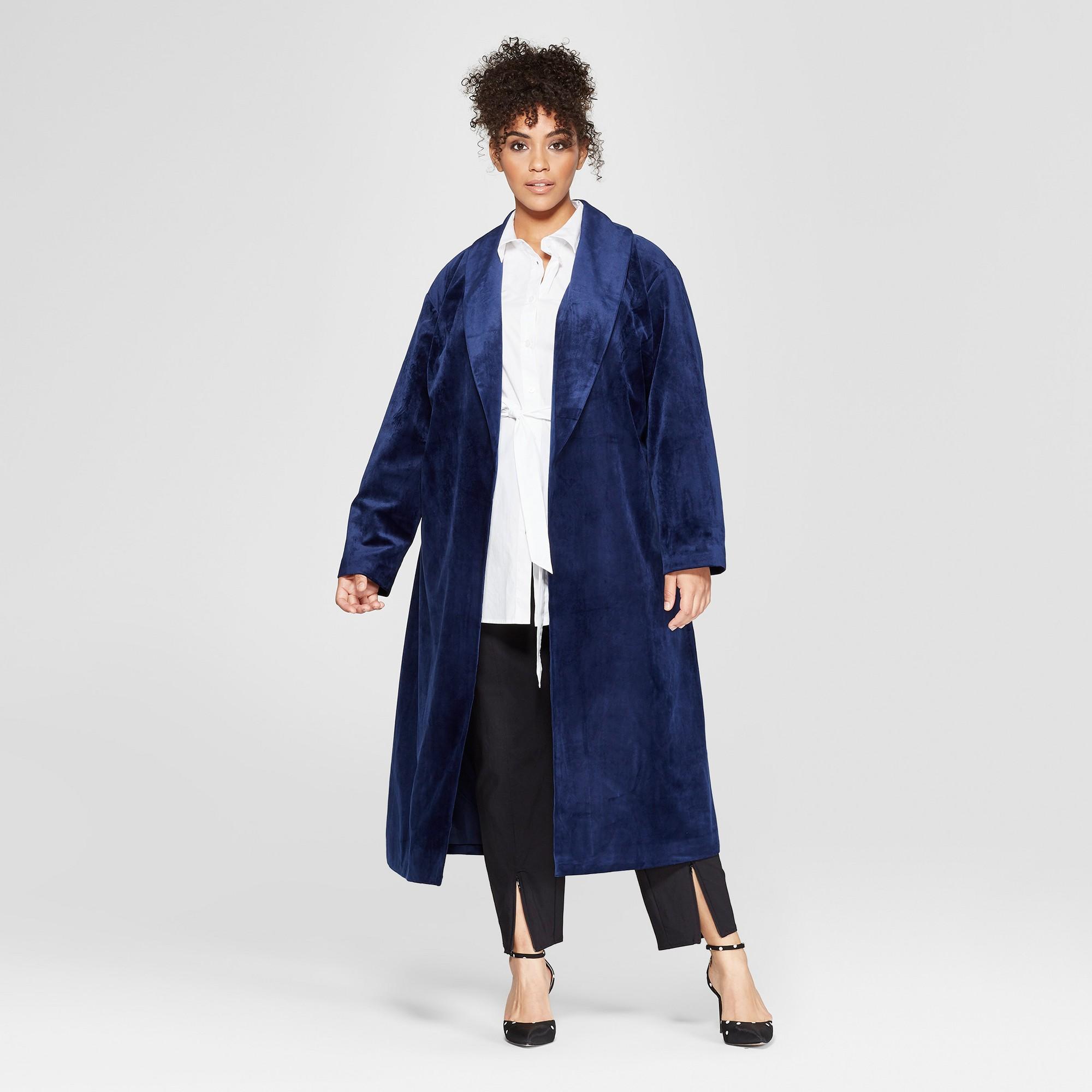 Women's Plus Size Velvet Overcoat - Who What Wear Navy 1X, Blue
