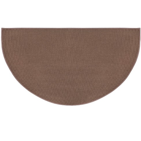 Flame Resistant Half Round Hearth Fireproof Rug 27 X 48 Brown Plow