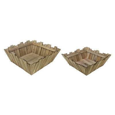 """Napa Home & Garden Set of 2 Square Rustic Wooden Baskets with Rectangular Pickets 16"""" - Brown"""
