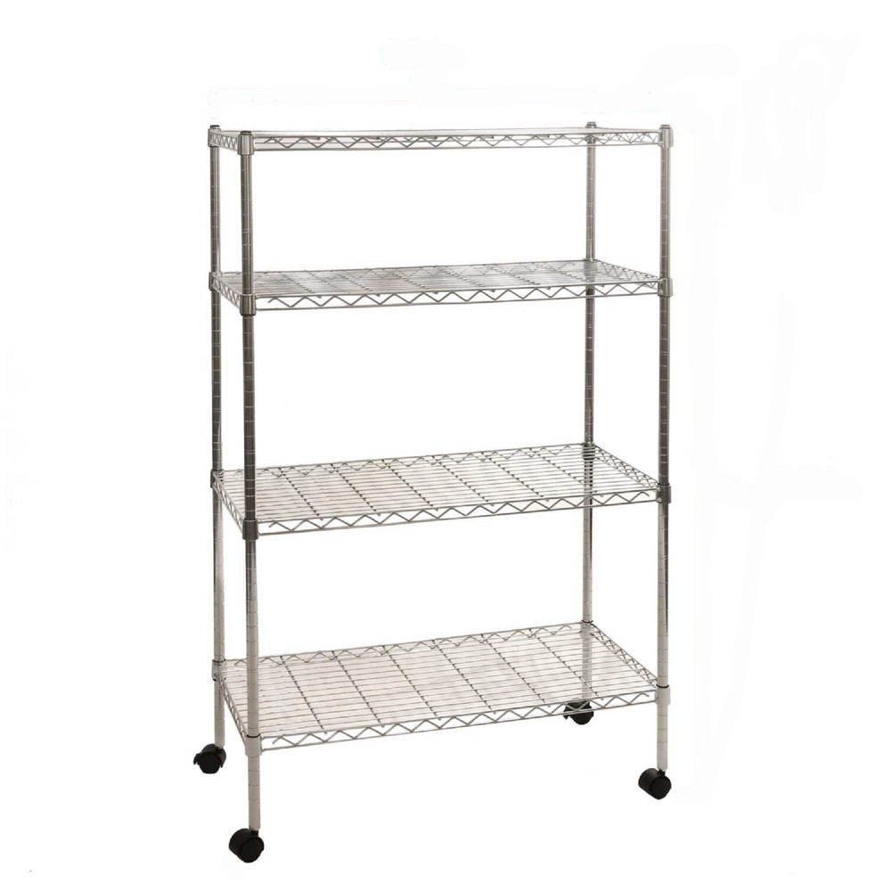 "Image of ""Seville Classics 30""""x14""""x48"""" 4 Tier Steel Wire Shelving with Wheels Chrome"""