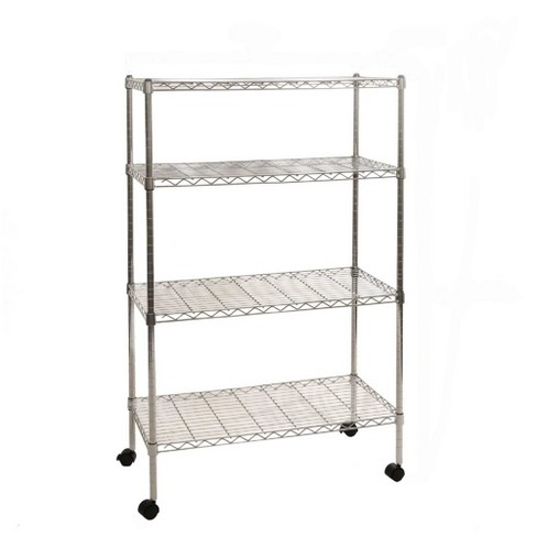 """Seville Classics 30""""x14""""x48"""" 4 Tier Steel Wire Shelving with Wheels Chrome - image 1 of 4"""