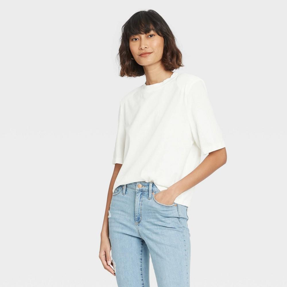 Women 39 S Short Sleeve Crewneck Padded Shoulder T Shirt Universal Thread 8482 White L