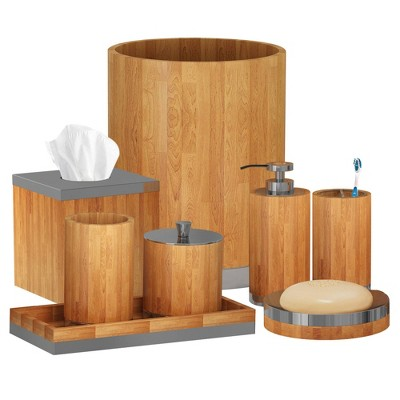 8pc Ageless Bath Accessory Set for Vanity Counter Tops Brown - Nu Steel