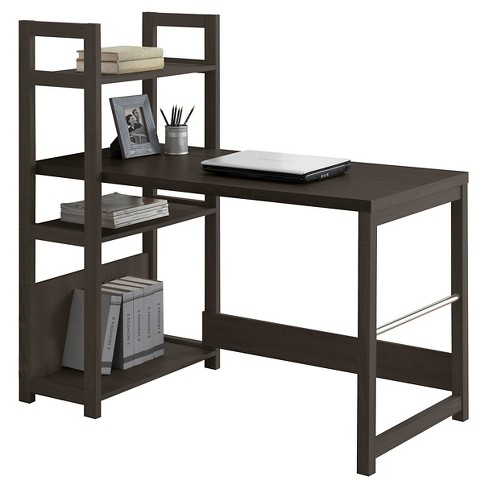 Folio Bookshelf Styled Desk Black Espresso Corliving